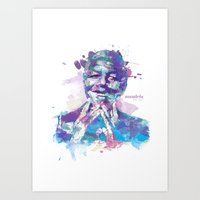 mandela Art Prints featuring Mandela by I AM DIMITRI