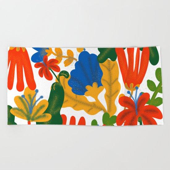 Tropical Flower Pattern II Beach Towel