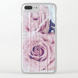 Vintage Roses on Wood Clear iPhone Case