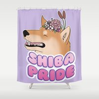 shiba Shower Curtains featuring Shiba Pride by Cheesey