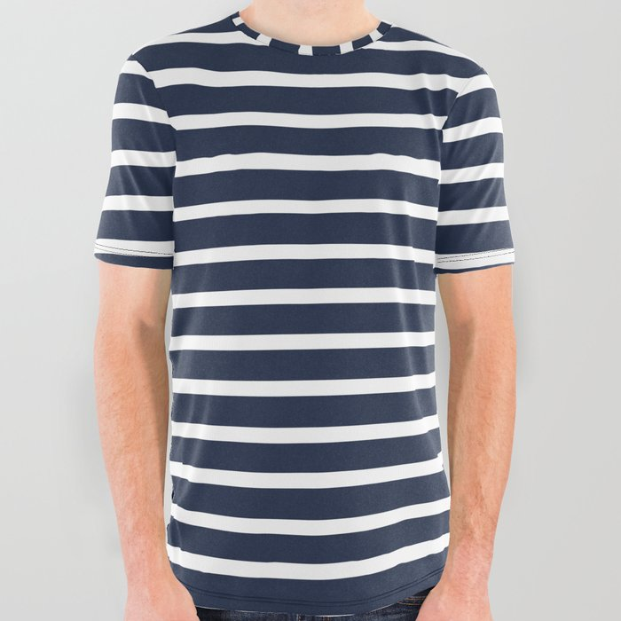028587a1c97 Nautical Navy and White Horizontal Stripes All Over Graphic Tee by ...