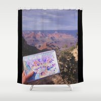 pacific rim Shower Curtains featuring South Rim, Grand Canyon by Claire Sianna