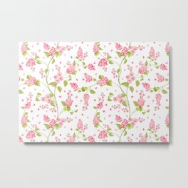 Pink Hydrangea Flower Blooms and Buttercup Flower Blooms on White Metal Print