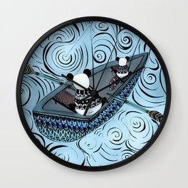 Pandas gone fishing Wall Clock