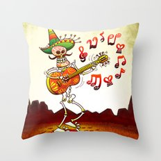 Mexican Skeleton Playing Guitar Throw Pillow