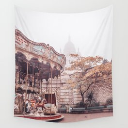 Paris Carousel and Sacre Coeur Wall Tapestry