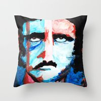 poe Throw Pillows featuring Poe by J. John Whitmore