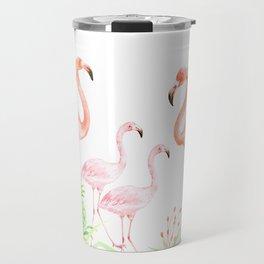Watercolor flamingo family art print Travel Mug