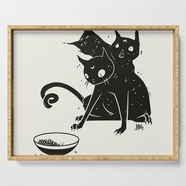Creepy Cute Three Headed Black Cat Artwork Serving Tray