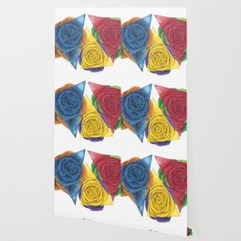 Complimentary Color Rose Trio With Geometric Triangles Wallpaper