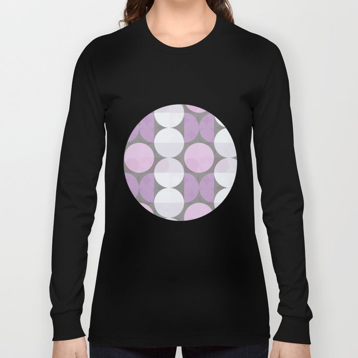 pink grey circular pattern Long Sleeve T-shirt