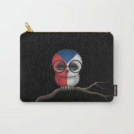 Baby Owl with Glasses and Czech Flag Carry-All Pouch
