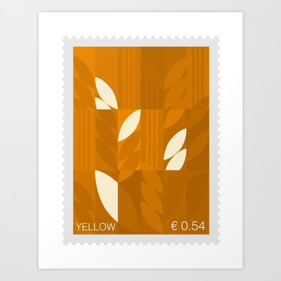 Yellow Stamp Art Print