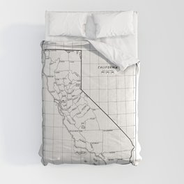 California State Map with Counties Comforters