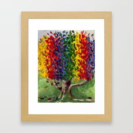 Colorful art, Rainbows and Unicorns, RAINBOW TREE Framed Art Print