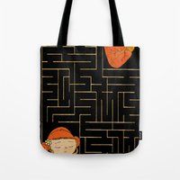labyrinth Tote Bags featuring labyrinth by Christina Tsevis