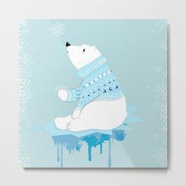 Polar bear with snowflakes Metal Print