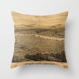 Aerial View of Portland, Oregon (1879) Throw Pillow