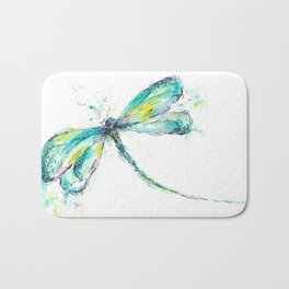 Watercolor Dragonfly Bath Mat