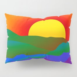 Gay Pride Rainbow Sunrise Landscape Design Pillow Sham