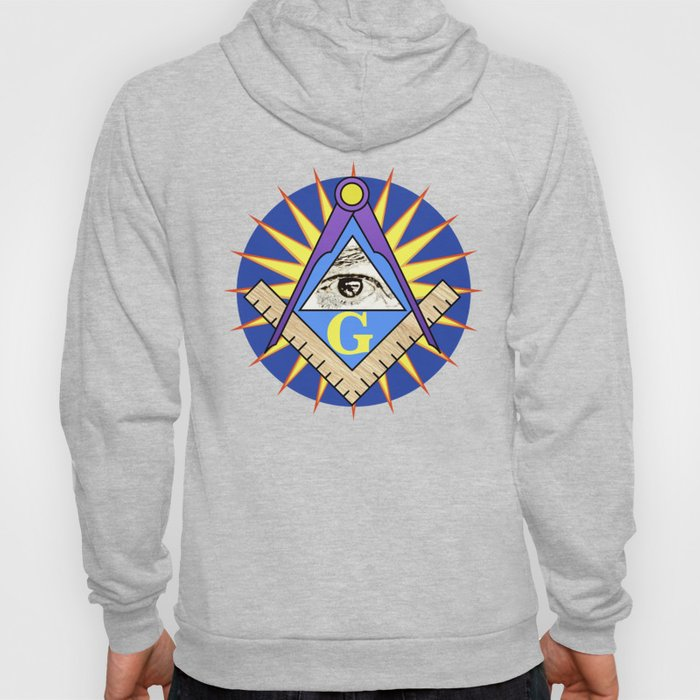 Masonic Square & Compass On Blue Disc Hoody