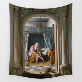 """Jan Steen """"Woman at her Toilet"""" Wall Tapestry"""