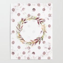 Watercolour spot wreath Poster