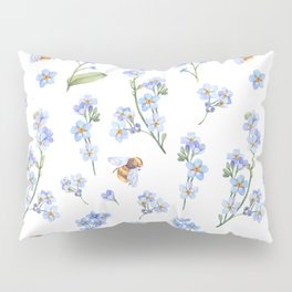 Cute hand painted brown bee lavender watercolor floral Pillow Sham