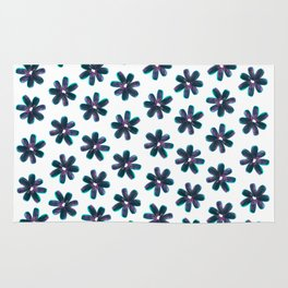 Blue Pink Sunflower Seeds Flowers Pattern Rug