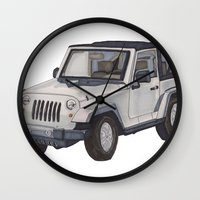 jeep Wall Clocks featuring Jeep Wrangler 2012 by Megan Yiu