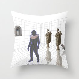 Man in a room with statues and cats_ Throw Pillow