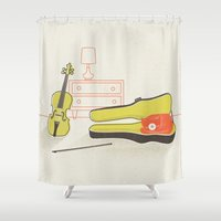 violin Shower Curtains featuring Cat & Violin by Jenny Tiffany