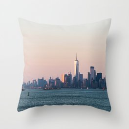 New York City Summer Sunset Skyline Throw Pillow