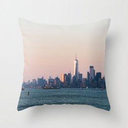 New York City Summer Sunset Skyline Throw Pillow