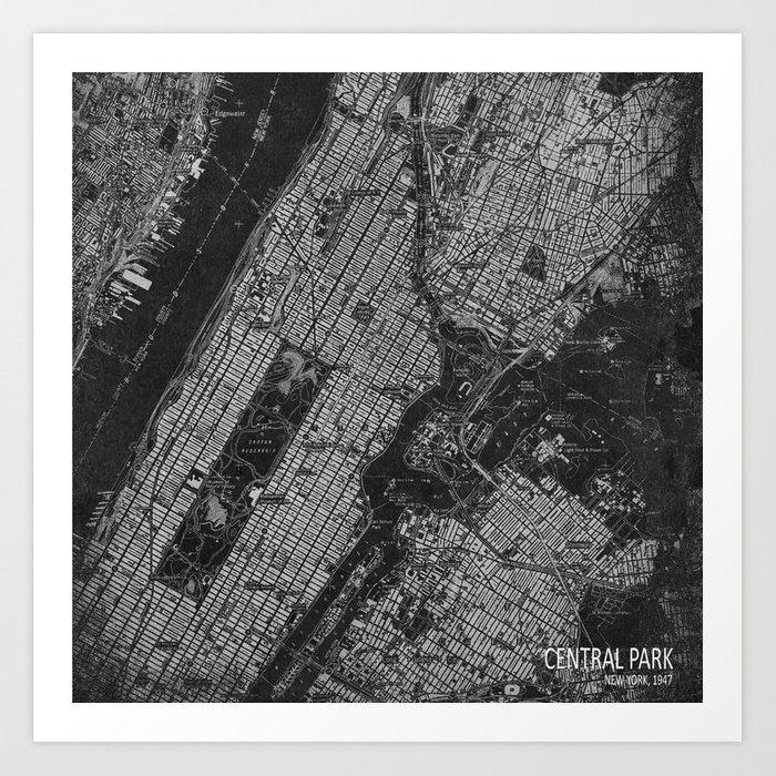Old Map Of New York.Central Park New York 1947 Vintage Old Map For Office Decoration Art Print By Routes