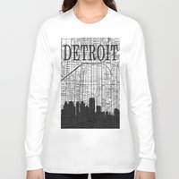 detroit Long Sleeve T-shirts featuring DETROIT by Rustic Refresh