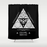 hyrule Shower Curtains featuring Legend of Zelda Kingdom of Hyrule Crest Letterpress Vector Art by Barrett Biggers