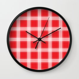 Red and White Plaid Wall Clock