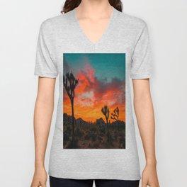 Joshua Tree Sunset Unisex V-Neck