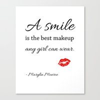 marylin monroe Canvas Prints featuring Marylin monroe Quote typography  by Home Art & Beyond