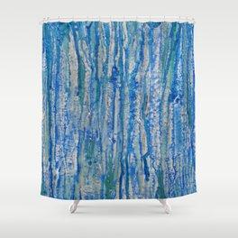 Encaustic Streaks (blue) Shower Curtain
