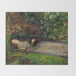 Ophelia from Hamlet Oil Painting by Sir John Everett Millais Throw Blanket
