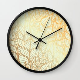 Bohemian Gold Feathers Illustration With White Shimmer Wall Clock