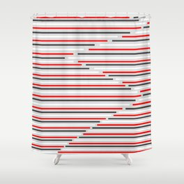 Mixed Signals Abstract - Red, Gray, Black, White Shower Curtain
