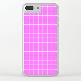 Shocking pink (Crayola) - pink color - White Lines Grid Pattern Clear iPhone Case