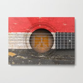 Old Vintage Acoustic Guitar with Egyptian Flag Metal Print