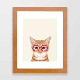 Ginger - Cute cat with glasses hipster cat art for dorm college decor funny cat lady meme Framed Art Print