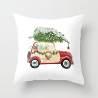 Throw Pillows featuring Vintage Christmas car with tree red by Jennifer Rizzo Design Company