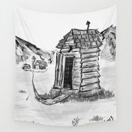 Outhouse, Primitive Art, Black & White Print of Painting by Faye Wall Tapestry