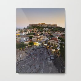 Classic sunset view over Athens with the Acropolis in the backdrop | Travel photography Greece Metal Print